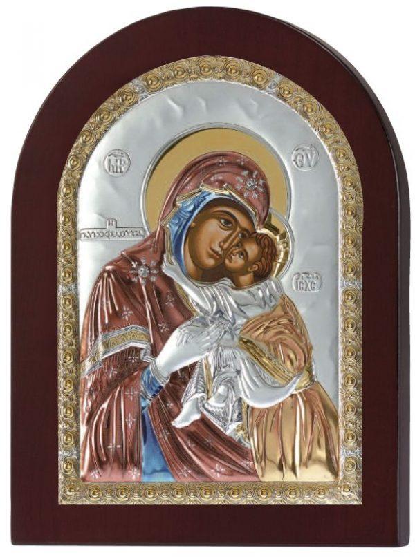 Ασημένια εικόνα Παναγία Γλυκοφιλούσα MA/E1104DXC