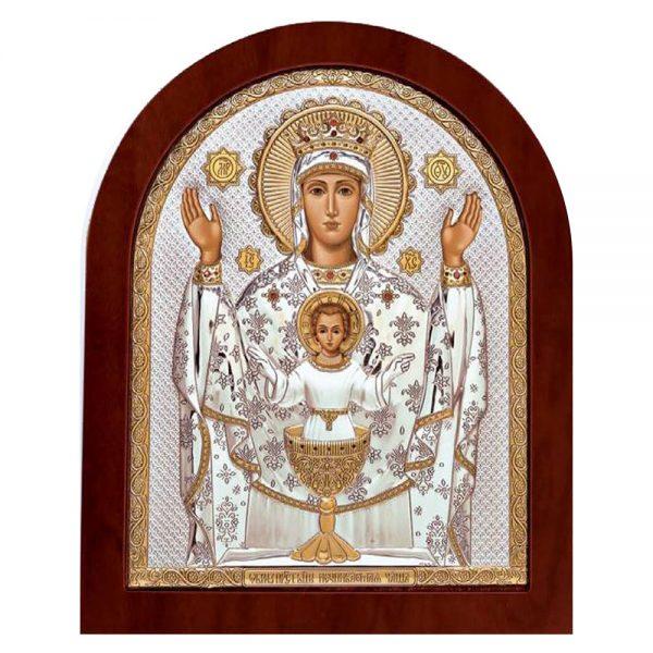 Ασημένια εικόνα Παναγία Ανεξάντλητο Δισκοπότηρο ΜΕ40-041