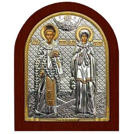 Ασημένια εικόνα Άγιοι Κυπριανός και Ιουστίνη ΜΕ40-160