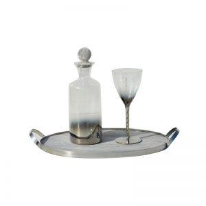 Σετ γάμου καράφα-ποτήρι σε χρώμα ασημί με strass CK2191790