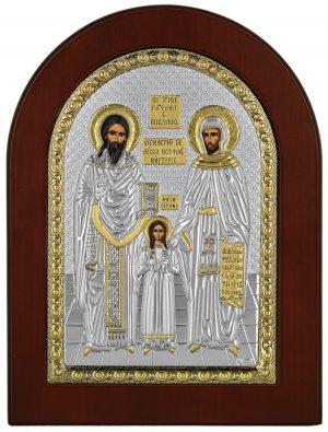 Ασημένια εικόνα Ο Άγιος Ραφαήλ Ο Άγιος Νικόλαος και Η Αγία Ειρήνη Prince Silvero MA/E1144BX